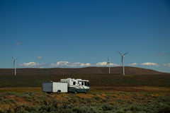 Paesaggio del mulino a vento di rv fotografia stock libera da diritti
