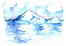 Paesaggio del nord della montagna di ghiaccio di inverno dell'acquerello disegnato a mano Immagini Stock Libere da Diritti
