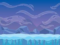 Paesaggio del Nord di inverno Paesaggio senza cuciture di inverno del fumetto Fotografie Stock