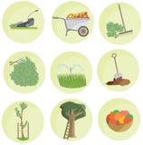 Paesaggio del pacchetto dell'icona dell'insieme del giardino di colore del fumetto pianamente divertente illustrazione di stock