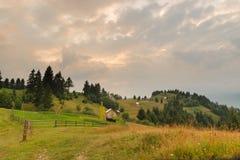 Paesaggio del paese in Borsa, Maramures, Romania Fotografie Stock Libere da Diritti