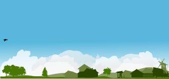 Paesaggio del paese con gli alberi verdi Fotografia Stock Libera da Diritti