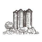 Paesaggio del paese con l'elevatore di grano grafici di schizzo illustrazione di stock