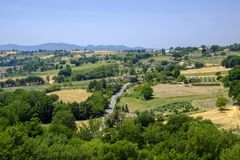 Paesaggio del paese da Massa Martana, Umbria Fotografie Stock Libere da Diritti