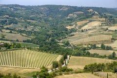Paesaggio del paese da Orvieto, Umbria, Italia Fotografia Stock