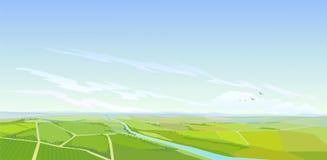 Paesaggio del paese dagli aerei Immagini Stock