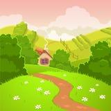 Paesaggio del paese della natura del fumetto Immagini Stock