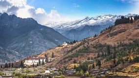 Paesaggio del paese della valle e della montagna, Bhutan Fotografie Stock Libere da Diritti