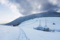 Paesaggio del paese di inverno Fotografia Stock