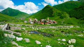 Paesaggio del paese in Svaneti Fotografia Stock Libera da Diritti