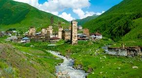 Paesaggio del paese in Svaneti Fotografie Stock