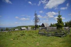 Paesaggio del paesino di montagna con le case di legno Fotografia Stock Libera da Diritti