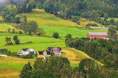 Paesaggio del paesino di montagna della Norvegia fotografia stock libera da diritti