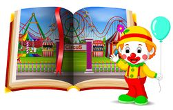 Paesaggio del parco di divertimenti nel libro e nel pagliaccio royalty illustrazione gratis