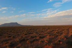 Paesaggio del parco nazionale di Camdeboo durante il tramonto nel Sudafrica Immagini Stock