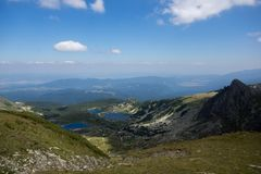 Paesaggio del pesce, del gemello e dei laghi trefoil, i sette laghi Rila, Bulgaria Immagine Stock Libera da Diritti