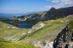 Paesaggio del pesce, del gemello e dei laghi trefoil, i sette laghi Rila, Bulgaria Fotografie Stock