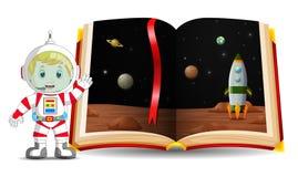 Paesaggio del pianeta nel libro e nel bambino che indossano un astronauta del costume royalty illustrazione gratis