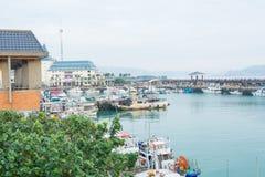Paesaggio del porto della città Fotografia Stock Libera da Diritti