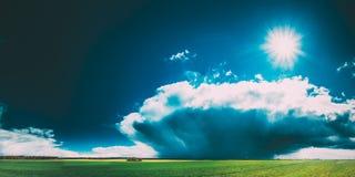 Paesaggio del prato o del campo con erba verde sotto il cielo drammatico blu della primavera scenica con le nuvole lanuginose bia immagini stock