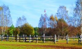 Paesaggio del ranch di autunno come fondo Immagini Stock Libere da Diritti