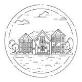 Paesaggio del sobborgo con la casa separata privata, iarda sulla parte posteriore di bianco illustrazione vettoriale