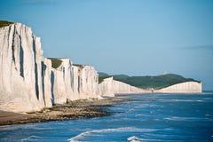 Paesaggio del sud dell'Inghilterra dei sette delle sorelle bassi delle scogliere Immagine Stock Libera da Diritti