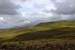 Paesaggio del sud dell'Islanda con gli altopiani Fotografia Stock