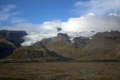 Paesaggio del sud dell'Islanda con il ghiacciaio Vatnajokull Fotografie Stock Libere da Diritti