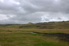 Paesaggio del sud dell'Islanda con outwash vulcanico Fotografie Stock