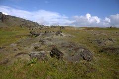 Paesaggio del sud dell'Islanda con outwash vulcanico Fotografie Stock Libere da Diritti