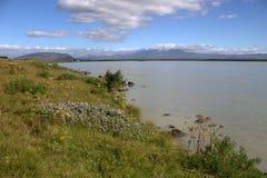 Paesaggio del sud dell'Islanda con un fiume Thjorsa Immagini Stock Libere da Diritti