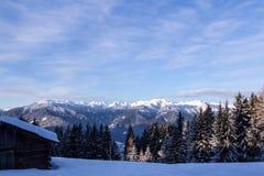 Paesaggio del sud delle montagne delle alpi della neve di Tirol Fotografie Stock Libere da Diritti