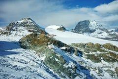 Paesaggio del supporto il Cervino coperto di nuvole, alpi, Svizzera Fotografia Stock