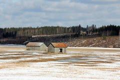 Paesaggio del vecchio paese alla sorgente Fotografia Stock