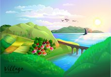 Paesaggio del villaggio Immagini Stock Libere da Diritti