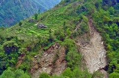 Paesaggio del villaggio della natura di verde della montagna del campo dei terrazzi di agricoltura nel Nepal Immagine Stock