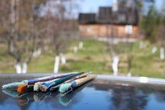 Paesaggio del villaggio della spazzola del cavalletto Fotografia Stock Libera da Diritti