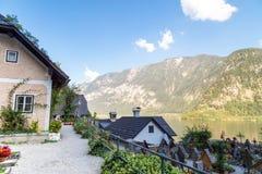 Paesaggio del villaggio di Hallstatt dall'ossario di Beinhaus Immagine Stock