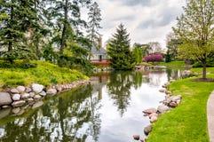 Paesaggio del villaggio di Northbrook, U.S.A. Immagine Stock