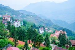 Paesaggio del villaggio di sapa Immagini Stock Libere da Diritti