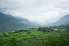 Paesaggio del villaggio nella zona rurale di Shangri-La Fotografia Stock Libera da Diritti