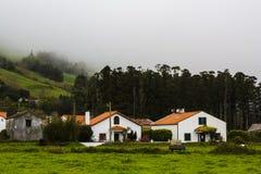 Paesaggio del villaggio rurale un giorno nebbioso Immagine Stock