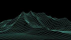 Paesaggio del wireframe 3d di vettore Illustrazione di griglia royalty illustrazione gratis