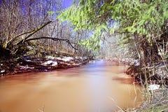 Paesaggio dell'acqua dell'insenatura della primavera Fotografia Stock