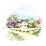 Paesaggio dell'acquerello con cielo blu, le nuvole, la radura verde con i cespugli e gli alberi, con la casa Europeo disegnato a  illustrazione vettoriale