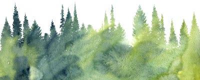 Paesaggio dell'acquerello con gli alberi