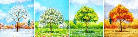 Paesaggio dell'acquerello della serie Fotografia Stock