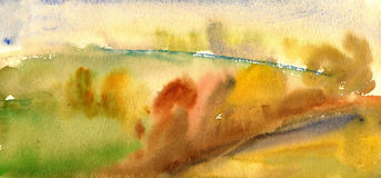 Paesaggio dell'acquerello di autunno Immagine Stock Libera da Diritti
