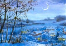 Paesaggio dell'acquerello. Finestre illuminate nelle case Immagini Stock Libere da Diritti